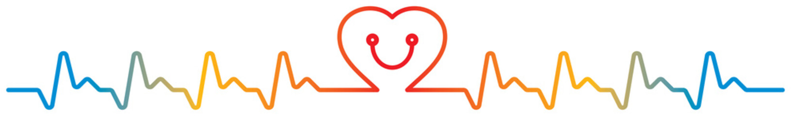 smiley heartbeat and stethoscope vector