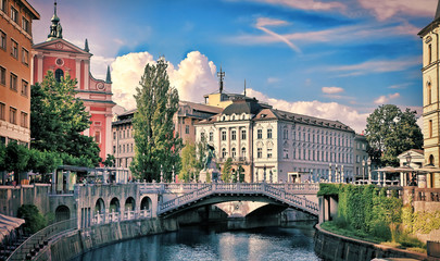 View on Ljubljanica river with old building in Ljubljana city in Slovenia.
