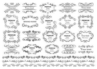 Calligraphic design elements . Decorative swirls or scrolls, vintage frames , flourishes, labels and dividers. Retro vector illustration