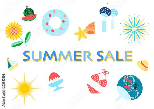 サマーセール Summer Sale イラスト アイコン 白背景fotoliacom の