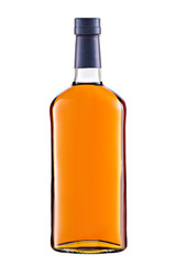 Front view full whiskey, cognac, brandy bottle isolated on white background with clipping path