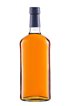 Front view full whiskey, cognac, brandy bottle isolated on white background
