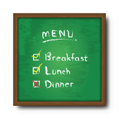 Blackboard and text food menu with check mark . Vector
