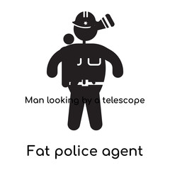 Fat police agent icon isolated on white background