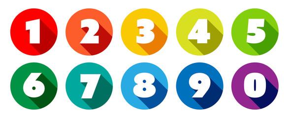 Chiffres 0 à 9 dans cercle multicolores