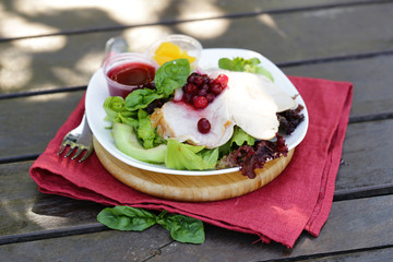 salad with turkey and cranberry sauce