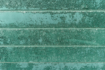Wall Mural - Rusty metal wall texture in green tone.