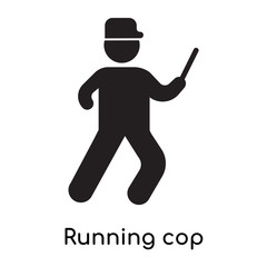 Running cop icon isolated on white background