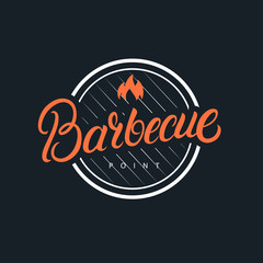 Barbecue hand written lettering logo