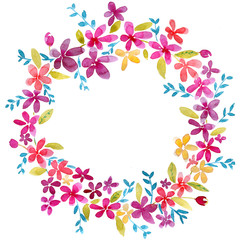 Watercolor round frame wreath of simple pink and yellow flowers
