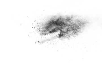 black powder explosion on white background. Colored cloud. Colorful dust explode. Paint Holi.