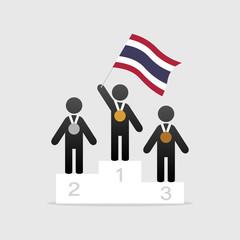 Champion with thailand flag on winner podium