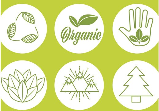 9 Green Line Art Nature and Ecology Icons