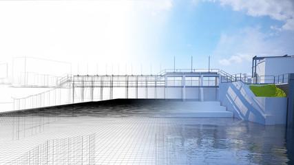Diga, bacino idrico, impianto idroelettrico, illustrazione 3d, BIM