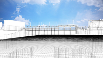 Foto auf Acrylglas Damm Diga, bacino idrico, impianto idroelettrico, illustrazione 3d, BIM