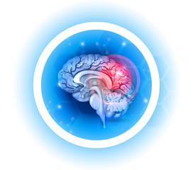 Human brain problems symbol on a beautiful light blue radial background
