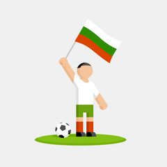 Bulgaria soccer player in kit with flag and ball