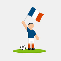 France soccer player in kit with flag and ball
