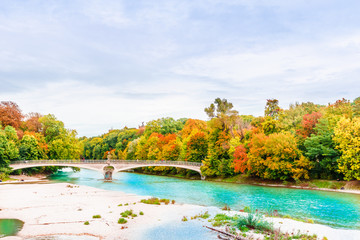 Autumn landscape and Isar river in Munich - Bavaria