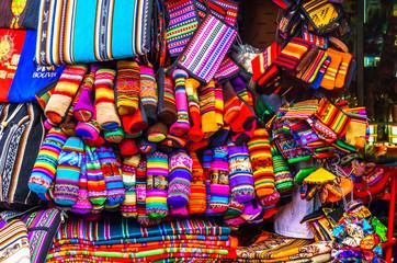Indigenous clothes on market in La Paz - Bolivia