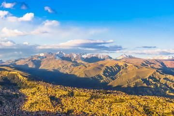 Cityscape of La Paz with illimani mountain - Bolivia