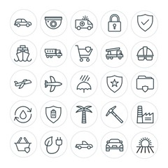 Modern Simple Set of transports, industry, nature, security Vector outline Icons. Contains such Icons as aircraft,  tool,  ecology,  video and more on white background. Fully Editable. Pixel Perfect