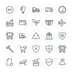 Modern Simple Set of transports, industry, nature, security Vector outline Icons. Contains such Icons as  road,  shield,  environment,  car and more on white background. Fully Editable. Pixel Perfect