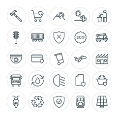 Modern Simple Set of transports, industry, nature, security Vector outline Icons. Contains such Icons as nature,  credit,  tool, energy and more on white background. Fully Editable. Pixel Perfect