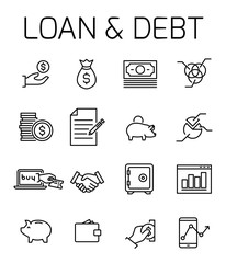 Loan and debt related vector icon set