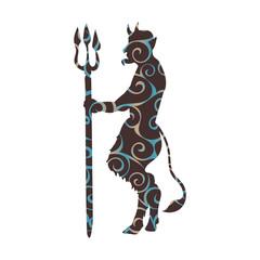 Devil demon religion trident pattern silhouette ancient mytholog