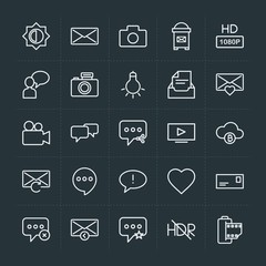 Modern Simple Set of cloud and networking, chat and messenger, video, photos, email Vector outline Icons. Contains such Icons as  travel, hd and more on dark background. Fully Editable. Pixel Perfect.