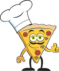 Cartoon illustration of a slice of pizza wearing a chef hat.