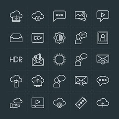 Modern Simple Set of cloud and networking, chat and messenger, video, photos, email Vector outline Icons. Contains such Icons as  message and more on dark background. Fully Editable. Pixel Perfect.