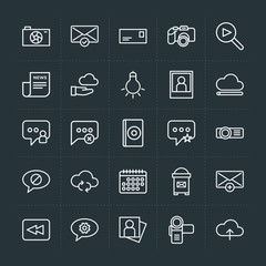 Modern Simple Set of cloud and networking, chat and messenger, video, photos, email Vector outline Icons. Contains such Icons as  back, exit and more on dark background. Fully Editable. Pixel Perfect.