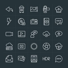 Modern Simple Set of cloud and networking, chat and messenger, video, photos, email Vector outline Icons. Contains such Icons as cloud, open and more on dark background. Fully Editable. Pixel Perfect.