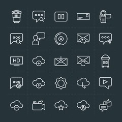 Modern Simple Set of cloud and networking, chat and messenger, video, photos, email Vector outline Icons. Contains such Icons as letter, sky and more on dark background. Fully Editable. Pixel Perfect.