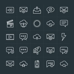 Modern Simple Set of cloud and networking, chat and messenger, video, photos, email Vector outline Icons. Contains such Icons as exit,  back and more on dark background. Fully Editable. Pixel Perfect.