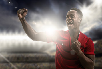Afro young man fan celebrating in the stadium