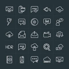 Modern Simple Set of cloud and networking, chat and messenger, video, photos, email Vector outline Icons. Contains such Icons as  web,  old and more on dark background. Fully Editable. Pixel Perfect.
