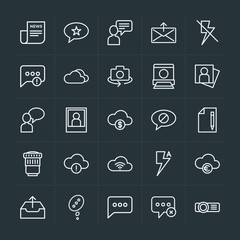 Modern Simple Set of cloud and networking, chat and messenger, video, photos, email Vector outline Icons. Contains such Icons as projector and more on dark background. Fully Editable. Pixel Perfect.