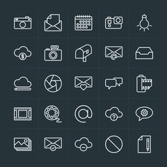 Modern Simple Set of cloud and networking, chat and messenger, video, photos, email Vector outline Icons. Contains such Icons as  lens, open and more on dark background. Fully Editable. Pixel Perfect.