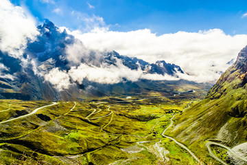 Mountain landscape and view on starting point of the death road in Bolivia