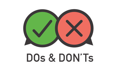 Do and Don't or Good and Bad Icons with Positive and Negative Symbols