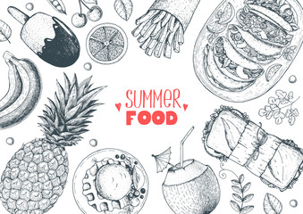 Summer food vector illustration. Variety food sketch collection. Top view engraved illustration.