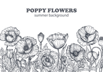 Floral backgrounds with hand drawn poppy flowers and leaves.