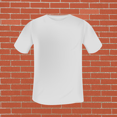 vector white mens t-shirt template on red brick wall background with grunge texture. mocap for print and clothing design