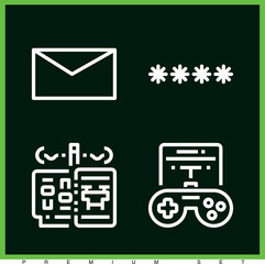 Set of 4 mobile outline icons