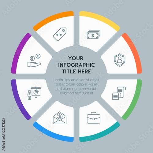 circle chart business money shopping infographic template with 8