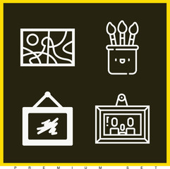 Set of 4 art outline icons