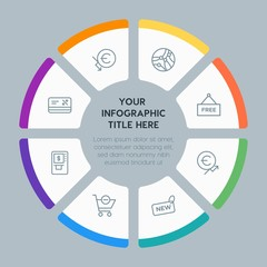 Circle chart business, money, shopping infographic template with 8 options for presentations, advertising, annual reports